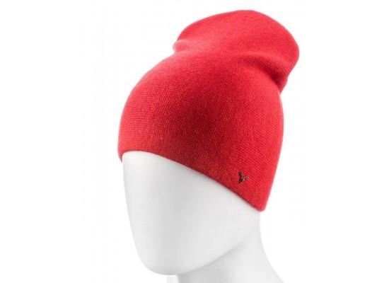 Женская шапка № 698 (Двойная, разные цвета)